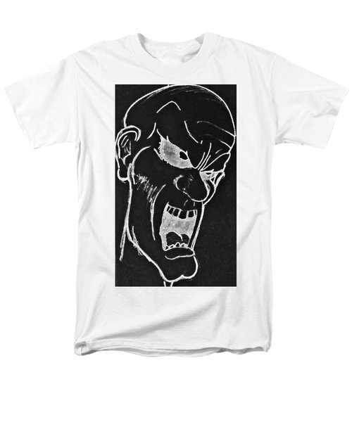 Men's T-Shirt  (Regular Fit) featuring the drawing Angry Zombie In Negative by Yshua The Painter