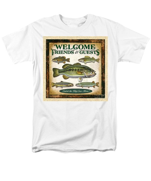 Men's T-Shirt  (Regular Fit) featuring the painting Antique Lure Fish Panel Three by JQ Licensing Jon Q Wright