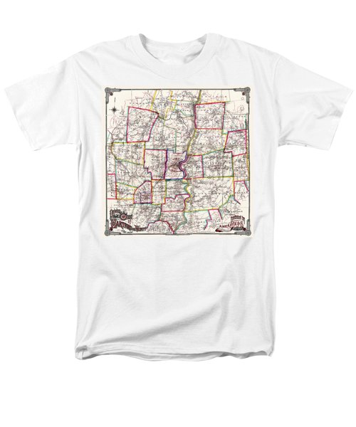 Horse Carriage Era Driving Map Of Hartford Connecticut Vicinity 1884 Men's T-Shirt  (Regular Fit) by Phil Cardamone