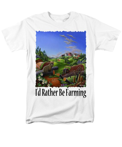 Id Rather Be Farming - Springtime Groundhog Farm Landscape 1 Men's T-Shirt  (Regular Fit) by Walt Curlee