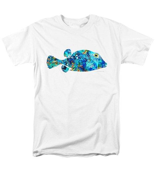 Blue Puffer Fish Art By Sharon Cummings Men's T-Shirt  (Regular Fit)