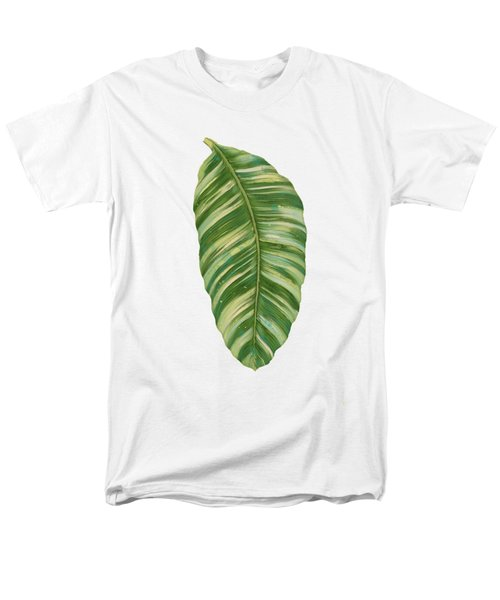 Rainforest Resort - Tropical Leaves Elephant's Ear Philodendron Banana Leaf Men's T-Shirt  (Regular Fit)