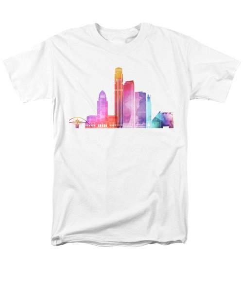 Los Angeles Landmarks Watercolor Poster Men's T-Shirt  (Regular Fit) by Pablo Romero