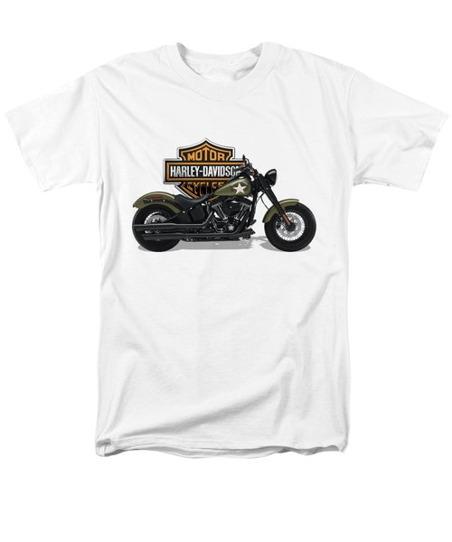 Men's T-Shirt  (Regular Fit) featuring the digital art 2017 Harley-davidson Softail Slim S Motorcycle With 3d Badge Over Vintage Background  by Serge Averbukh