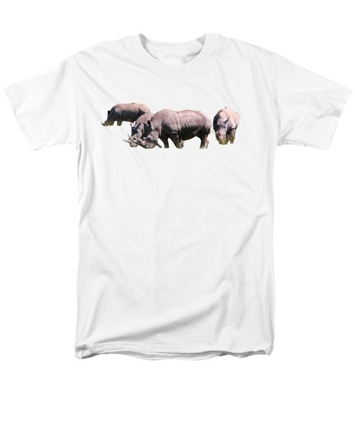 Men's T-Shirt  (Regular Fit) featuring the photograph Group Of White Rhino by Aidan Moran