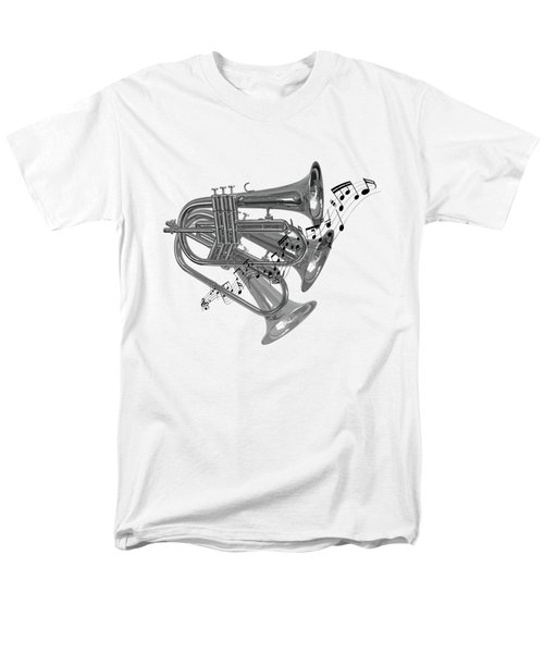 Trumpet Fanfare Black And White Men's T-Shirt  (Regular Fit) by Gill Billington