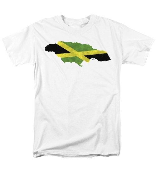 Jamaica Map Art With Flag Design Men's T-Shirt  (Regular Fit) by World Art Prints And Designs