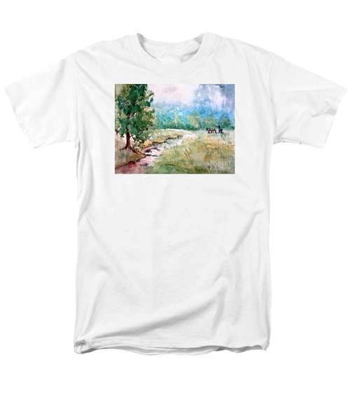 Men's T-Shirt  (Regular Fit) featuring the painting Aska Farm Creek by Gretchen Allen