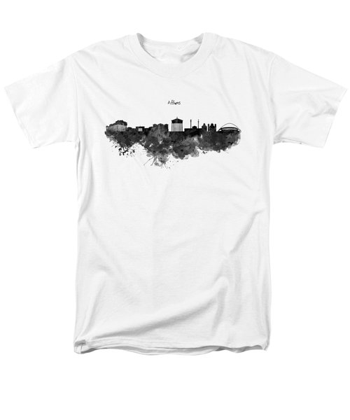 Athens Black And White Skyline Men's T-Shirt  (Regular Fit) by Marian Voicu