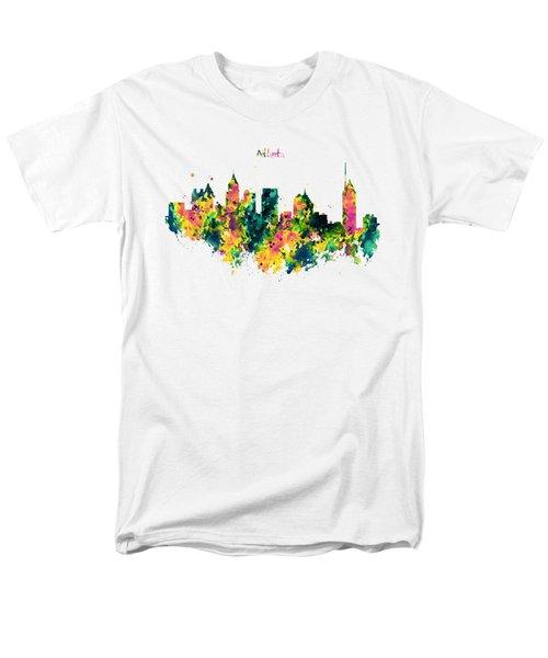 Atlanta Watercolor Skyline  Men's T-Shirt  (Regular Fit) by Marian Voicu