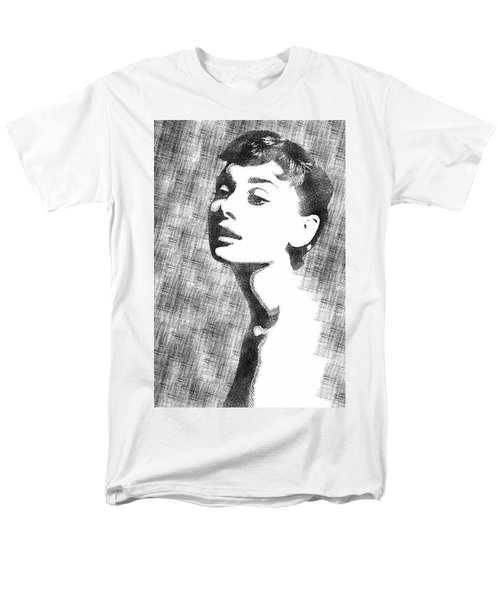 Audrey Hepburn Bw Portrait Men's T-Shirt  (Regular Fit) by Mihaela Pater