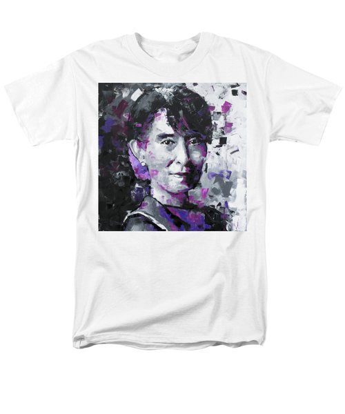 Men's T-Shirt  (Regular Fit) featuring the painting Aung San Suu Kyi by Richard Day