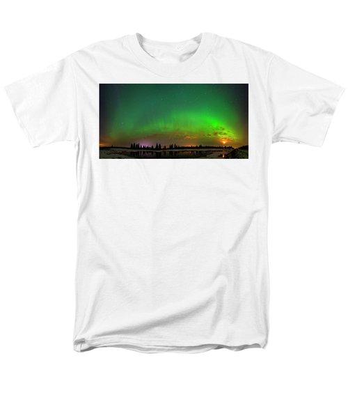 Aurora Over Pond Panorama Men's T-Shirt  (Regular Fit) by Dan Jurak