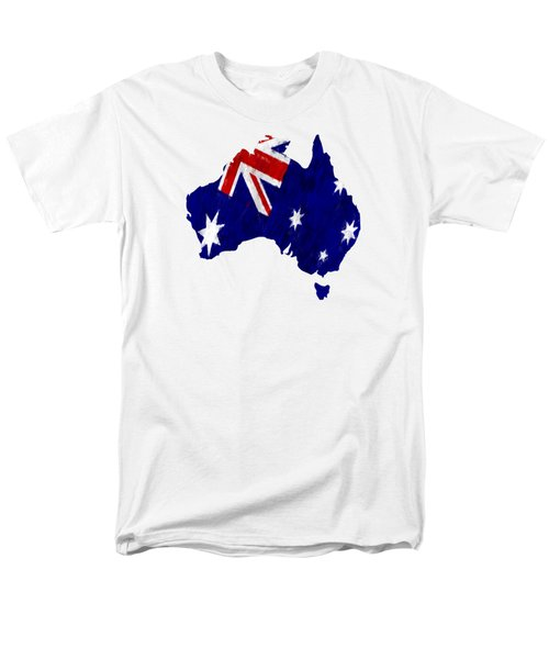 Australia Map Art With Flag Design Men's T-Shirt  (Regular Fit) by World Art Prints And Designs