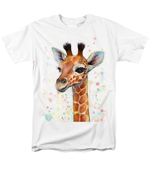 Baby Giraffe Watercolor  Men's T-Shirt  (Regular Fit) by Olga Shvartsur