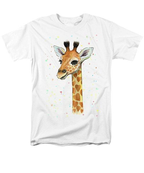 Baby Giraffe Watercolor With Heart Shaped Spots Men's T-Shirt  (Regular Fit) by Olga Shvartsur