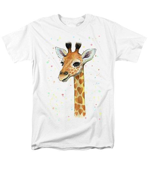 Baby Giraffe Watercolor With Heart Shaped Spots Men's T-Shirt  (Regular Fit)
