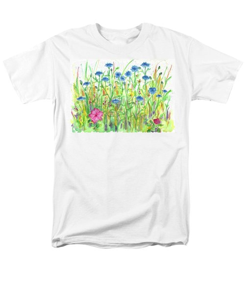 Men's T-Shirt  (Regular Fit) featuring the painting Bachelor Button Meadow by Cathie Richardson