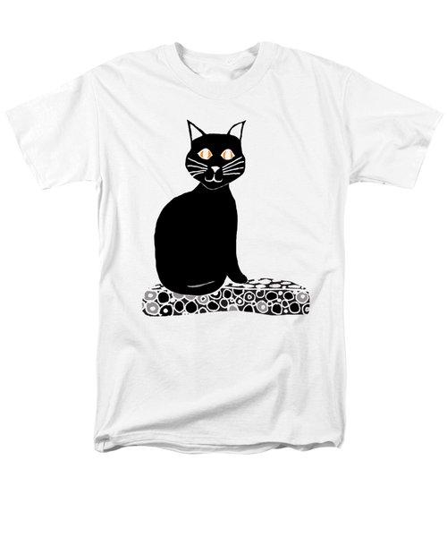 Background Choice Black Cat Men's T-Shirt  (Regular Fit) by Barbara Moignard