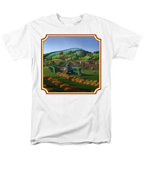 Baling Hay Field - John Deere Tractor - Farm Country Landscape Square Format Men's T-Shirt  (Regular Fit)