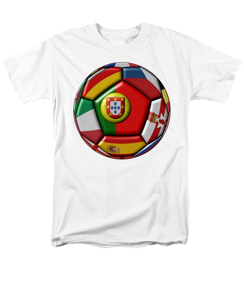 Ball With Flag Of Portugal In The Center Men's T-Shirt  (Regular Fit) by Michal Boubin