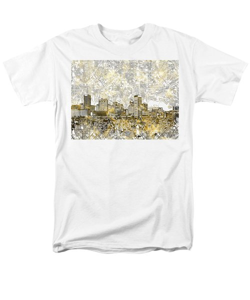 Men's T-Shirt  (Regular Fit) featuring the painting Baltimore Skyline Watercolor 8 by Bekim Art