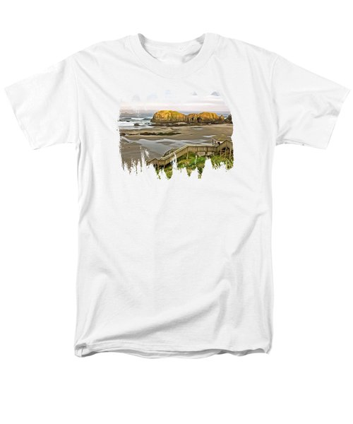 Bandon Beach Stairway Men's T-Shirt  (Regular Fit) by Thom Zehrfeld