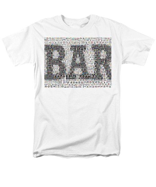 Men's T-Shirt  (Regular Fit) featuring the mixed media Bar Sign Beer Label Mosaic by Paul Van Scott