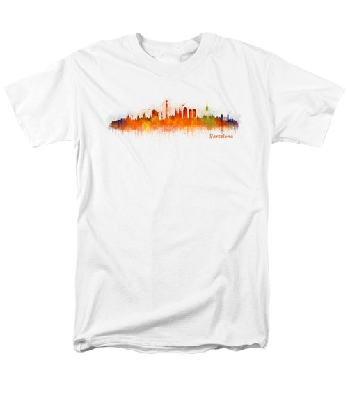 Barcelona City Skyline Hq _v3 Men's T-Shirt  (Regular Fit) by HQ Photo