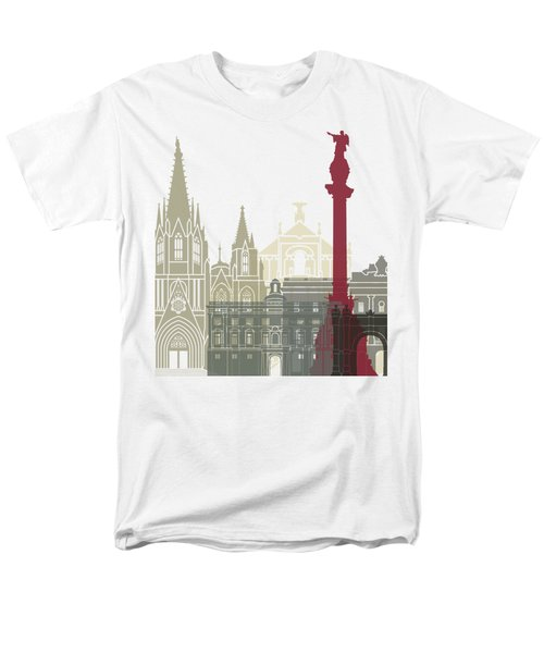 Barcelona Skyline Poster Men's T-Shirt  (Regular Fit) by Pablo Romero