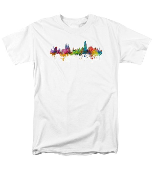 Barcelona Spain Skyline Panoramic Men's T-Shirt  (Regular Fit) by Michael Tompsett