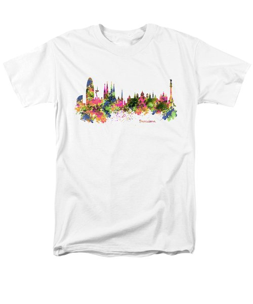 Barcelona Watercolor Skyline Men's T-Shirt  (Regular Fit) by Marian Voicu