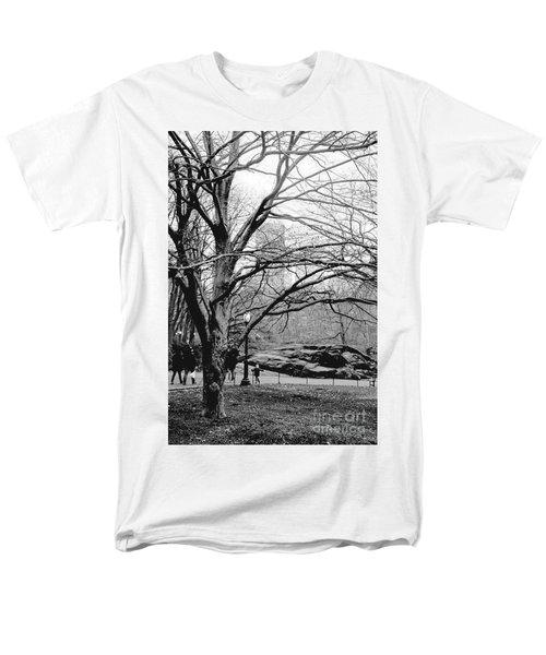 Bare Tree On Walking Path Bw Men's T-Shirt  (Regular Fit) by Sandy Moulder