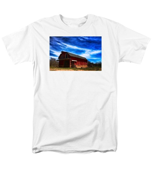 Men's T-Shirt  (Regular Fit) featuring the photograph Barn Under Blue Sky by Toni Hopper