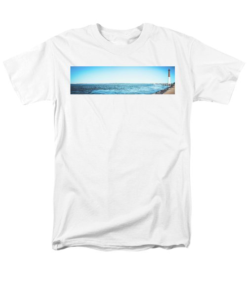 Men's T-Shirt  (Regular Fit) featuring the photograph Barnegat Light Panorama by Colleen Kammerer