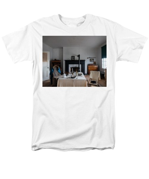 Men's T-Shirt  (Regular Fit) featuring the photograph Barracks Interior At Fort Laramie National Historic Site In Goshen County by Carol M Highsmith