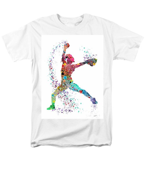 Baseball Softball Pitcher Watercolor Print Men's T-Shirt  (Regular Fit) by Svetla Tancheva