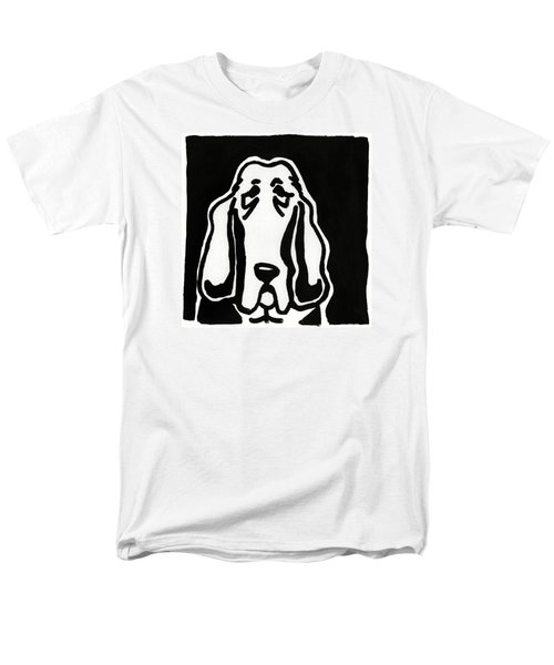 Men's T-Shirt  (Regular Fit) featuring the drawing Basset Hound Ink Sketch by Leanne WILKES