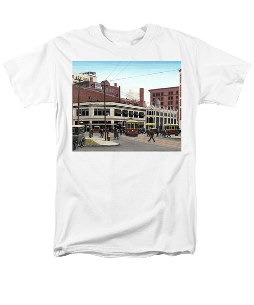 Men's T-Shirt  (Regular Fit) featuring the painting Bay And Queen Streets C1940 by Kenneth M Kirsch