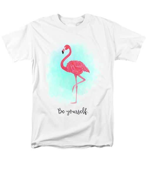 Be Yourself Flamingo Print Men's T-Shirt  (Regular Fit) by Donna Gilbert