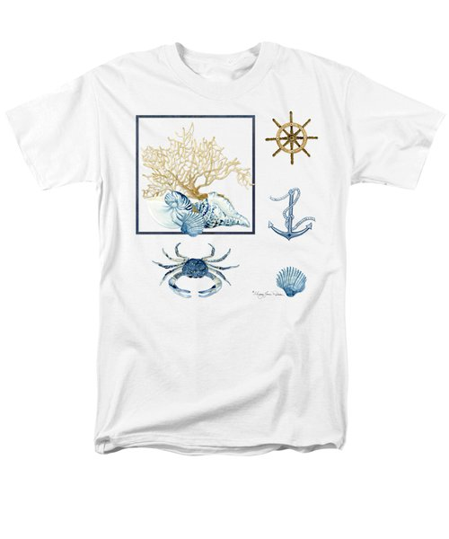 Beach House Nautical Seashells Ships Wheel Anchor N Crab Men's T-Shirt  (Regular Fit) by Audrey Jeanne Roberts