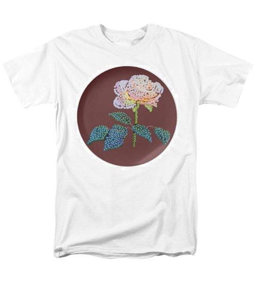 Men's T-Shirt  (Regular Fit) featuring the digital art Bedazzed Rose Plate by R  Allen Swezey
