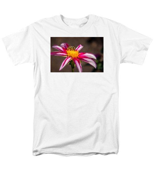 Men's T-Shirt  (Regular Fit) featuring the photograph Bee On Dahlia by Randy Bayne