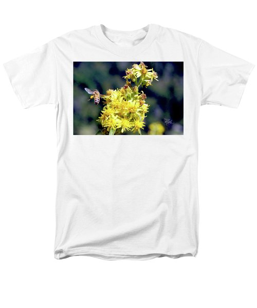 Men's T-Shirt  (Regular Fit) featuring the photograph Bee On Goldenrod by Meta Gatschenberger