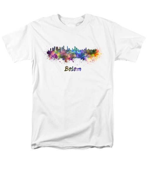 Belem Skyline In Watercolor Men's T-Shirt  (Regular Fit) by Pablo Romero