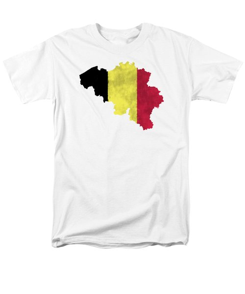 Belgium Map Art With Flag Design Men's T-Shirt  (Regular Fit) by World Art Prints And Designs