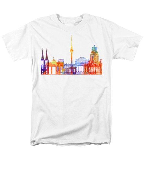 Berlin Landmarks Watercolor Poster Men's T-Shirt  (Regular Fit) by Pablo Romero