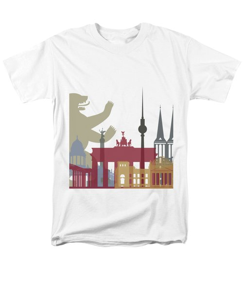 Berlin Skyline Poster Men's T-Shirt  (Regular Fit) by Pablo Romero
