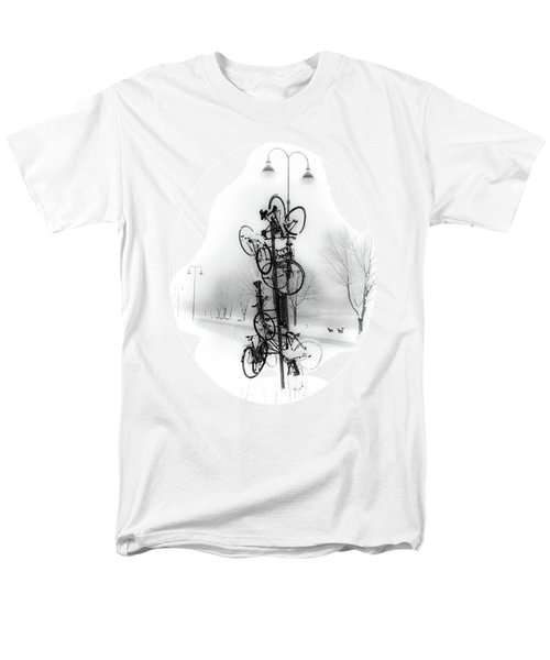 Men's T-Shirt  (Regular Fit) featuring the photograph Bicycle Lamppost In Winter by Menega Sabidussi