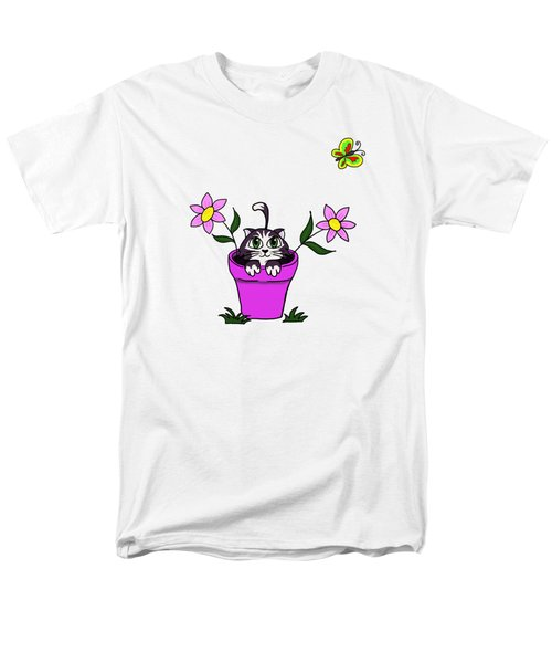 Big Eyed Kitten In Flower Pot Men's T-Shirt  (Regular Fit) by Lorraine Kelly